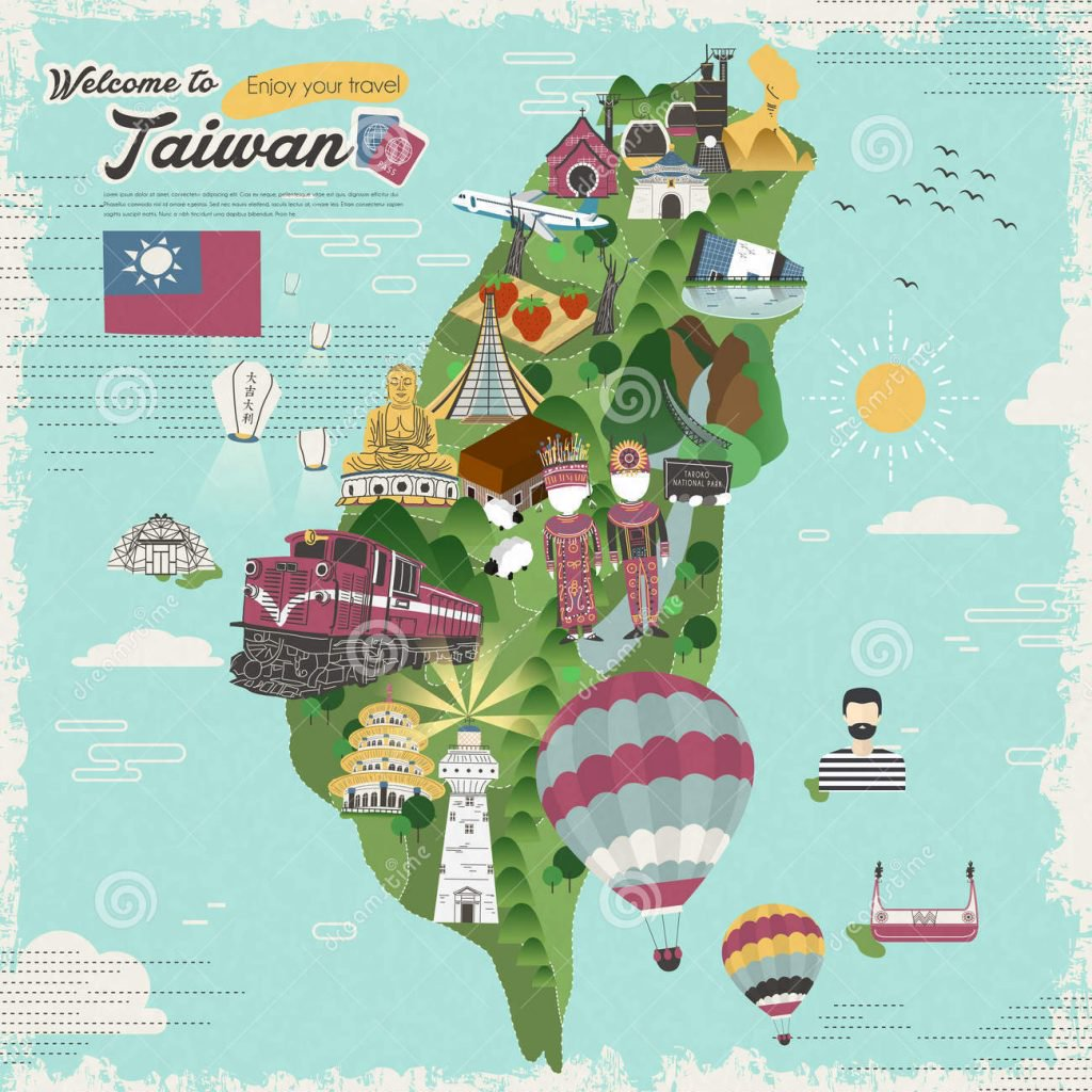 taiwan_travel_map_colorful_attractions_dishes_flat_design_60963365_e1562316864174_1024x1024